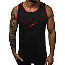 cheap Men's Tees & Tank Tops-Men's Daily Casual Basic / Street chic Cotton Slim Tank Top - Solid Colored Racerback / Patchwork Round Neck Black / Sleeveless