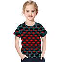 Недорогие Мужские футболки и майки-Дети Дети (1-4 лет) Девочки Активный Классический Геометрический принт С принтом 3D С принтом С короткими рукавами Футболка Красный