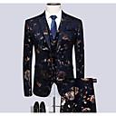 povoljno Muški sakoi i odijela-Muškarci Veći konfekcijski brojevi odijela, Geometrijski oblici Kragna košulje Poliester Crn / Slim