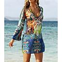 رخيصةأون خلخال-فستان نسائي ثوب ضيق بوهو طباعة قصير جداً الرسم منخفضة V رقبة مناسب للعطلات شاطئ