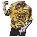 povoljno Muške majice i potkošulje-Majica Muškarci - Ulični šik / Elegantno Izlasci / Ležerno / za svaki dan Geometrijski oblici / Etno Print Bijela / Dugih rukava