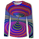 رخيصةأون قمصان رجالي-رجالي أساسي / أناقة الشارع طباعة تيشرت, هندسي / ألوان متناوبة / 3D رقبة دائرية / كم طويل