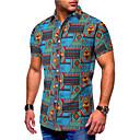 رخيصةأون قمصان رجالي-رجالي أساسي طباعة مقاس أوروبي / أمريكي - قطن قميص, ألوان متناوبة / ترايبال / كم قصير