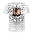 tanie Koszulki i tank topy męskie-Rozmiar UE / USA T-shirt Męskie Moda miejska / Przesadny, Nadruk Kij / Plaża Okrągły dekolt Kolorowy blok / 3D / Zwierzę Biały / Krótki rękaw