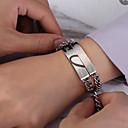ieftine Inele-2pcs Bărbați Pentru femei Brățări cu Lanț & Legături Geometric Inimă Declarație Stilat La modă Dulce Elegant Oțel titan Bijuterii brățară Argintiu Pentru Nuntă Logodnă Cadou Zilnic Promisiune