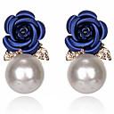 ieftine Cercei-Pentru femei Resin Cercei Stud Floare Stilat Clasic Imitație de Perle Diamante Artificiale cercei Bijuterii Roz Închis / Rosu / Albastru Închis Pentru Zilnic 1 Pair