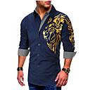 رخيصةأون قمصان رجالي-رجالي أساسي طباعة مقاس أوروبي / أمريكي - قطن قميص, الرسم / كم طويل