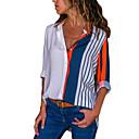 رخيصةأون أغطية أيفون-نسائي أساسي بقع قطن قميص, مخطط V رقبة فضفاض