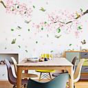 ieftine Acțibilde de Decorațiuni-flori roz si pisici autocolante de perete - autocolante de perete 3d florale / botanice / studiouri peisaj / birouri / sufragerii / bucatarii