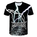 preiswerte Herren T-Shirts & Tank Tops-Herrn 3D - Grundlegend EU- / US-Größe T-shirt, Rundhalsausschnitt Regenbogen / Kurzarm