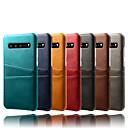 voordelige Galaxy Note-serie hoesjes / covers-hoesje Voor Samsung Galaxy Galaxy S10 / Galaxy S10 Plus / Galaxy S10 E Kaarthouder / Stofbestendig / Waterbestendig Achterkant Effen Hard PU-nahka / PC