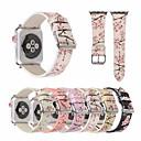 povoljno Perlice-šljivov cvijet kožni remen za sat jabuka sat bend 44mm / 40mm / 38mm / 42mm cvijet ispis narukvica za iwatch seriju 1 2 3 4 pribor