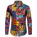 povoljno Muške košulje-Majica Muškarci - Boho Party / Spoj Lan Geometrijski oblici / Galaksija Print Crn / Dugih rukava