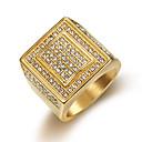 ieftine Inele Bărbătești-Bărbați Inel Zirconiu Cubic 1 buc Auriu Oțel titan Rotund Casual / sportiv Modă Cadou Zilnic Bijuterii Clasic Fericit Cool