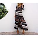 رخيصةأون خلخال-فستان نسائي قياس كبير جذاب بوهو منفصل طباعة - قطن طويل للأرض ترايبال V رقبة مناسب للعطلات شاطئ