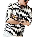 رخيصةأون قمصان رجالي-رجالي قميص أناقة الشارع / أنيق طباعة مخطط أبيض XL