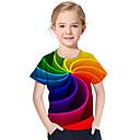 voordelige Heren T-shirts & tanktops-Kinderen Peuter Meisjes Actief Standaard Geometrisch Print Kleurenblok Print Korte mouw T-shirt Regenboog