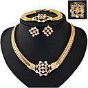povoljno Modne ogrlice-Žene Kubični Zirconia Svadbeni nakit Setovi Geometrijski Cvijet Stilski Pozlaćeni Naušnice Jewelry Zlato Za Party Dnevno 1set