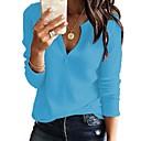 preiswerte Badezimmer Gadgets-Damen Freizeit / Grundlegend Gestrickt Solide Langarm Pullover Pullover Jumper, V-Ausschnitt Frühling / Herbst Schwarz / Weiß / Rosa S / M / L