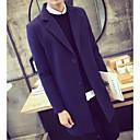 povoljno Men's Winter Coats-Muškarci Dnevno Jesen zima Dug Kaput, Jednobojni Zašiljeni rever Dugih rukava Poliester Crn / Plava / Navy Plava