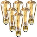 povoljno Sa žarnom niti-6kom 60 W E26 / E27 ST64 Toplo bijelo 2200-2300 k Retro / Zatamnjen / Ukrasno Žarulja sa žarnom niti Edison 220-240 V