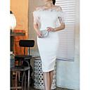 رخيصةأون قلادات-فستان نسائي ثوب ضيق طول الركبة لون سادة