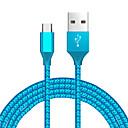 رخيصةأون أساور-6.5ft / 2m النايلون مضفر كابل بيانات USB نوع- ج 2.4a شحن كابل للهواتف