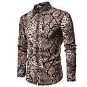 رخيصةأون قمصان رجالي-رجالي بانغك & قوطي / النمط الصيني قياس كبير - قطن قميص, منقوش / طباعة ثعابين / كم طويل