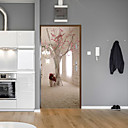 cheap Wall Tapestries-Creative Tree Door Stickers Decorative Waterproof Door Decal Decor - Plane Wall Stickers Floral / Botanical / Landscape Study Room / Office / Dining Room / Kitchen