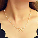 cheap Necklaces-Women's Chain Necklace Geometrical Bowknot Dainty Sweet Fashion Elegant Imitation Pearl Chrome Gold 44 cm Necklace Jewelry 1pc For Daily Work Festival