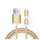 رخيصةأون أغطية أيباد-USB مصغر / البرق كابل 1.0M (3FT) جديلي / 1 إلى 2 نايلون محول كابل أوسب من أجل iPad / Samsung / Huawei