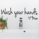 ieftine Acțibilde de Decorațiuni-baie detașabilă spălați-vă pe mâini dragoste perete mamă impermeabil art decal pentru acasă baie de toaletă decor perete