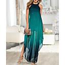 رخيصةأون أساور-فستان نسائي كلاسيكي عصري أنيق طويل للأرض ألوان متناوبة