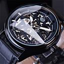voordelige Merk Horloge-Heren mechanische horloges Automatisch opwindmechanisme Echt leer Grote wijzerplaat Dag datum Analoog Luxe Klassiek - Zwart Goud