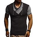 preiswerte Herren T-Shirts & Tank Tops-Herrn Solide / Gestreift - Street Schick / Übertrieben Übergrössen Baumwolle T-shirt, Rundhalsausschnitt Schlank Druck Schwarz / Kurzarm
