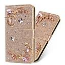 hesapli Galaxy A Serisi Kılıfları / Kapaklar-Pouzdro Uyumluluk Samsung Galaxy A5(2018) / A6 (2018) / A6+ (2018) Cüzdan / Kart Tutucu / Şoka Dayanıklı Tam Kaplama Kılıf Kelebek / Işıltılı Parlak / Çiçek Sert PU Deri