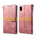 رخيصةأون أغطية أيفون-غطاء من أجل Apple iPhone XS / iPhone XR / iPhone XS Max محفظة / حامل البطاقات / مع حامل غطاء كامل للجسم لون سادة جلد أصلي