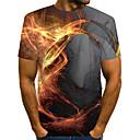 tanie Koszulki i tank topy męskie-Puszysta T-shirt Męskie Patchwork Okrągły dekolt 3D Żółty / Krótki rękaw