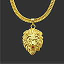 cheap Men's Necklaces-Men's Pendant Necklace Chain Necklace Long Necklace Classic Lion Punk Rock Copper Gold Plated Gold 76 cm Necklace Jewelry 1pc For Daily Street