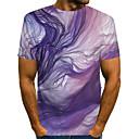 رخيصةأون قمصان رجالي-رجالي نادي أناقة الشارع / مبالغ فيه طباعة مقاس أوروبي / أمريكي تيشرت, ألوان متناوبة / 3D / الرسم رقبة دائرية / كم قصير