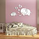 رخيصةأون الستائر-لطيف 3d شكل قلب الفيل جدار ديكور مرآة ملصق diy إزالة الطفل أطفال غرفة جدارية الشارات