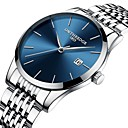 voordelige Herenhorloges-Heren Stalen Horloge Kwarts Roestvrij staal Waterbestendig Kalender Analoog minimalistische - Zwart Zilver
