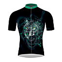 ieftine HDMI-21Grams #D Animal Lup Bărbați Manșon scurt Jerseu Cycling - Negru / Verde Bicicletă Jerseu Topuri Respirabil Confortabil la umezeală Uscare rapidă Sport 100% Poliester Ciclism montan Ciclism stradal