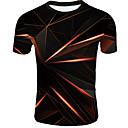 billiga T-shirts och brottarlinnen till herrar-3D EU / US-storlek T-shirt - Grundläggande Herr Rund hals Orange / Kortärmad