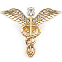 رخيصةأون بروشات-رجالي دبابيس أشكال النحت أجنحة الملاك أنيق أوروبي بروش مجوهرات ذهبي فضي من أجل مناسب للبس اليومي