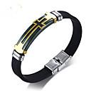 voordelige iPhone 7 hoesjes-Heren Lederen armbanden Retro Kruis Vintage Titanium Staal Armband sieraden Zilver Voor Lahja Dagelijks