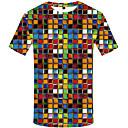 povoljno Muške majice i potkošulje-Majica s rukavima Muškarci - Ulični šik Vikend Na točkice / Geometrijski oblici / 3D Drapirano / Print Crno-bijela Duga