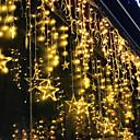 povoljno LED svjetla u traci-2,5m svjetlucava zvijezda 12 zvijezda 138 LED svjetla za zavjese niz svjetla prozora zavjese s 8 bljeskalica ukras za božićne ukrase za dom vjenčanja 220-240v