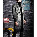povoljno Muške jakne-Muškarci Dnevno Proljeće & Jesen Dug Kaput, Geometrijski oblici Klasični rever Dugih rukava Poliester Crn