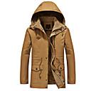 povoljno Men's Winter Coats-Muškarci Dnevno Vojni Jesen zima Dug ogrtač, Jednobojni S kapuljačom Dugih rukava Pamuk Vezeno Crn / Vojska Green / Žutomrk